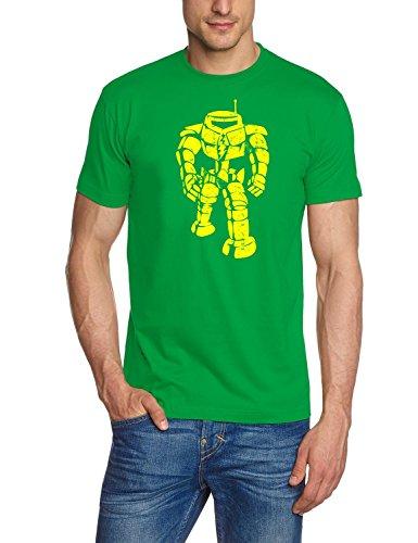 Coole-Fun-T-Shirts Herren T-Shirt Sheldon Robot Big Bang Theory!, Green-gelb, XL, BK104