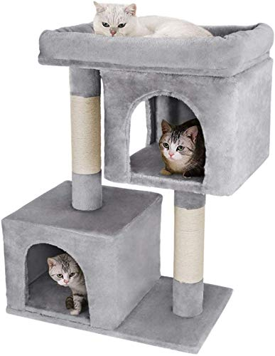 MACAW Cat Tree for Kittens House Furniture Trees 2 Cozy Plush Condos and Sisal Posts