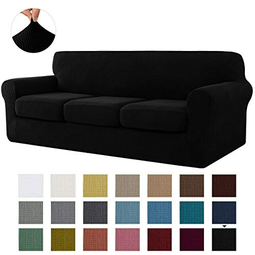 CHUN YI Stretch Sofa Slipcover Separate Cushion Couch Cover, Armchair Loveseat Replacement Coat for Ektorp Universal Sleeper, Checks Spandex Jacquard Fabric (Large,Black)