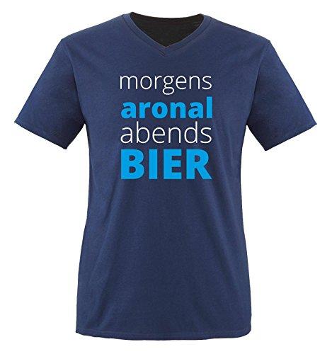 Morgen ARONAL ABENDS Bier - Herren V-Neck T-Shirt - Navy/Weiss-Blau Gr. XL