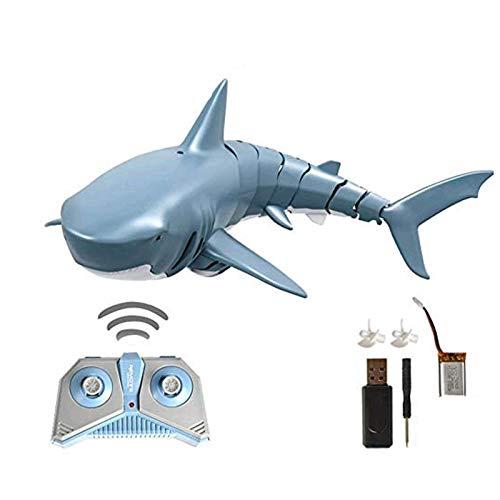 Ferngesteuertes Hai-Spielzeug, 2.4G Simulation Ferngesteuertes Hai-Bootsspielzeug 4-Kanal-wasserdichtes Hai-Spielzeug Geschwindigkeit Elektrischer RC-Fischboot-Hai für Schwimmbad Badezimmerspielzeug