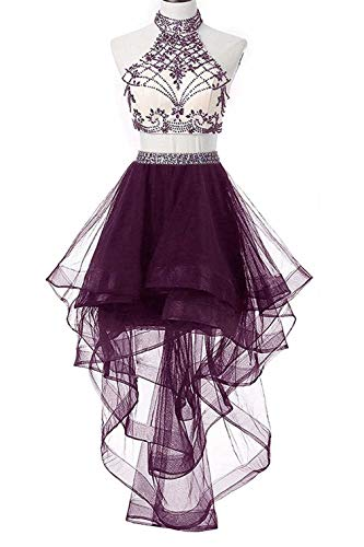 WiWiBridal 2018 Women's Two Piece Homecoming Dresses Halter Beads Prom Gowns Grape10