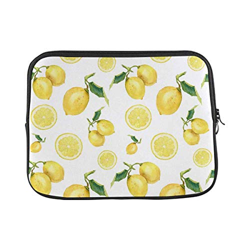 INTERESTPRINT Laptop Neoprene Protective Bag Watercolor Lemons Notebook Protective Sleeve Case Cover 17 Inch 17.3 Inch