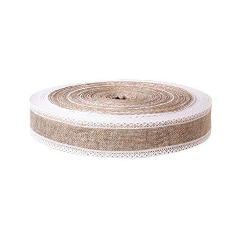 STOBOK - Cinta de yute con encaje blanco para hacer lazos de Navidad, caja de regalo rústica, decoración de boda, 200 x 5 cm