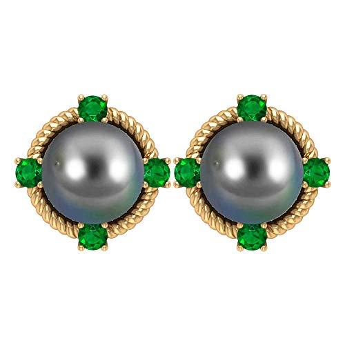 7MM Tahitian Black Pearl Stud Earrings, Emerald Earrings, 4 Prong Stud Earrings, Solid Gold Twisted Rope Earrings for Women, 14K Yellow Gold, Pair