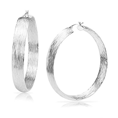 Brooklyn Bling – Silver Hoop Earrings Fashion Brushed Design | Sizes 30mm, 45mm & 60mm Silver