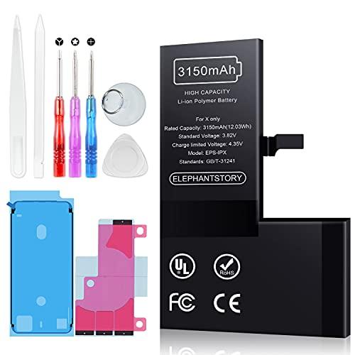 ElephantStory Batería para iPhone X, batería de Repuesto de Gran Capacidad de 3150 mAh para iPhone X, Compatible con los Modelos A1865, A1901, A1902 con Kits completos de Herramientas de reparación