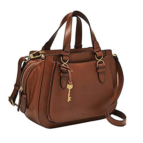 Fossil Women's Brooke Leather Satchel Purse Handbag, Brown