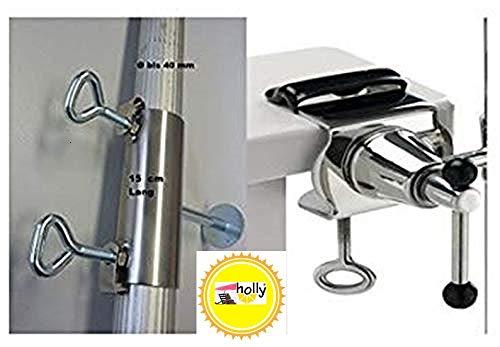 Support de parasol pour balustrades de balcon - Pour mâts de parasol jusqu'à 40 mm de diamètre - Support exclusif en acier inoxydable à 360°