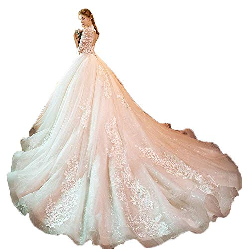 Inicio Accesorios Vestido Elegante Mujer Media Manga Aplique de Encaje Floral Malla Tul Tren Largo Vestido de Novia Vestido de Novia Princesa Vestido de Novia Fiesta Formal Banquete Vestido de fies