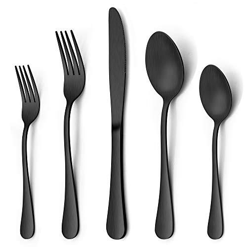 LIANYU 60 Piece Matte Black Silverware Flatware Set, Stainless Steel Satin Finish Black Flatware Cutlery Set for 12, Fancy Kitchen Utensil Tableware Set for Home Restaurant Party, Dishwasher Safe