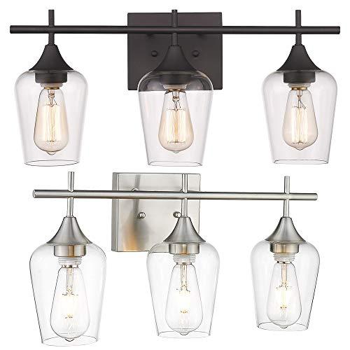 Osimir Bathroom Light Fixtures, Modern Farmhouse 3 Light Bathroom Vanity Light Fixtures, Clear Glass Shade, 21