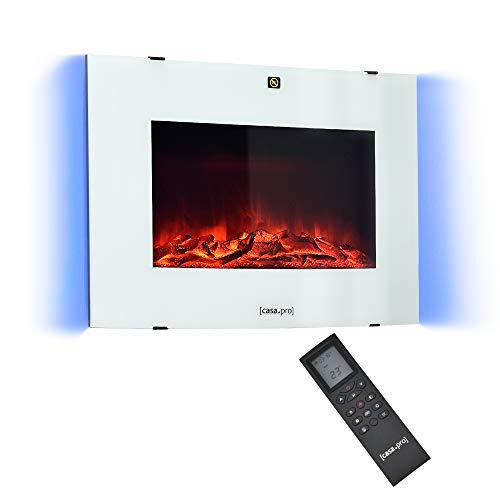 [casa.pro] Chimenea eléctrica 65 x 13,5 x 46 cm Animación de Fuego Plástico, Metal, Vidrio Termostato programable Incorporado Blanco