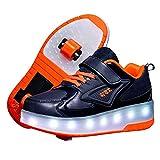 Zapatos con Ruedas Automática Calzado de Skateboarding Deportes de Exterior Patines en Línea Brillante Mutilsport Aire Libre y Deporte Vibración Parpadeo Gimnasia Running Zapatillas Orange,38