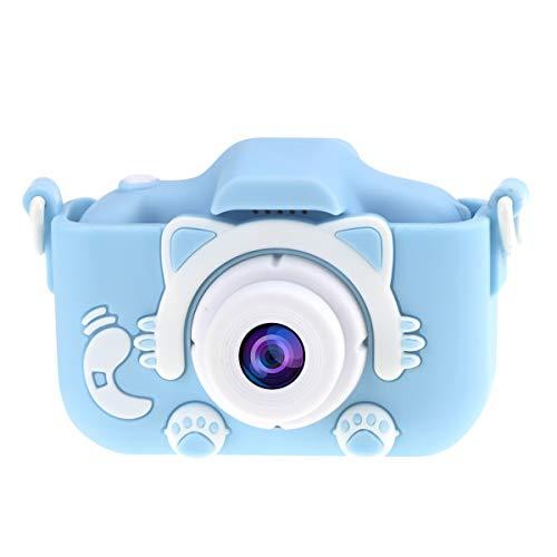WANGCHAO Mini Kids Digitale Camera, 2 Inch Scherm Voor En Achterste Dubbele Camera 20 MP HD Pixels Ingebouwde 20 Soorten Cartoon fotolijst Kindergeschenken, BlueB