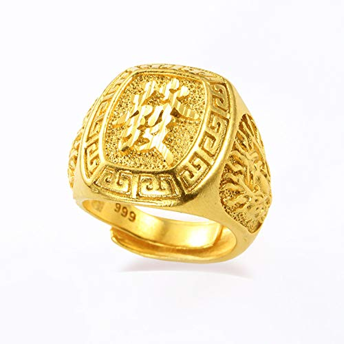 Prime Feng Shui verstellbarer Kupferring für Herren, 18 Karat vergoldet, Kanji-reicher Ring, Segen Sie alle bringen Reichtum und Glück, Geschenk