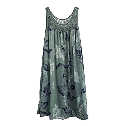 BOLANQ Damen Kleider Boho Sommerkleid V-Ausschnitt Maxikleid Kurzarm Strandkleid Lang Mit Schlitz