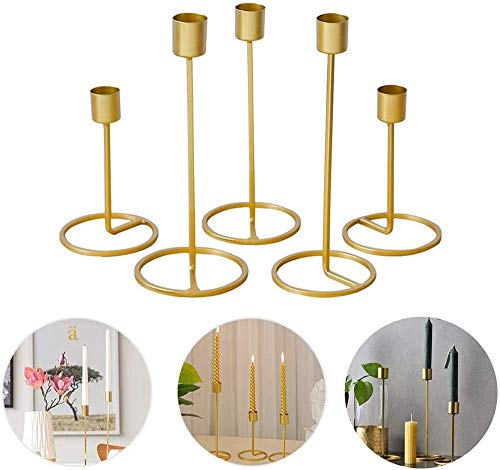 YWT Set of 5, Gold Brass Taper Candles, Metal Candle Holders, Decorative Candlestick Holder, for Wedding, Dinning, Party, Fit 1 Inch Taper Candle