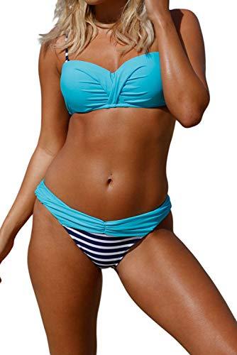 BLENCOT Bikini Donna Scollo a V con Stampa Strisce Costume da Bagno Push Up Vita Bassa Bikini Donna Mare Senza Manica, Blu, L