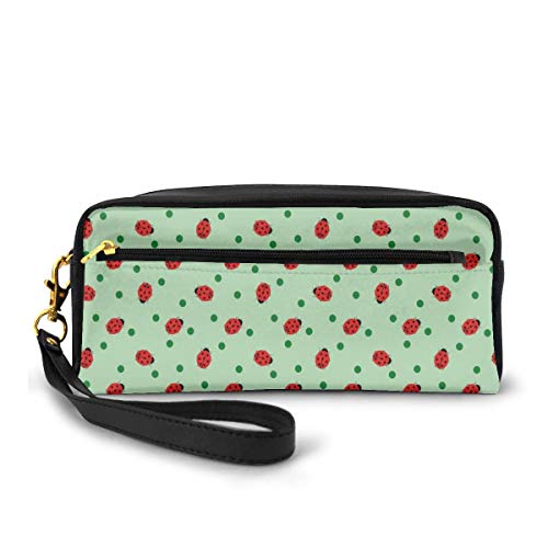 Pencil Case Pen Bag Pouch Stationary,Traditional Polka Dots Background Abstract Cute Ladybug Insects Fun Design,Small Makeup Bag Coin Purse