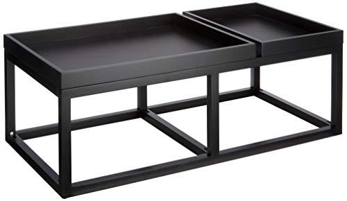 Marca Amazon - Rivet - Mesa de centro con 2 bandejas, 107 x 55 x 38,5 cm, negro