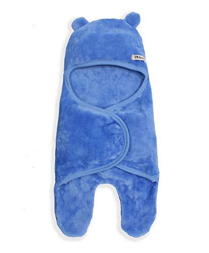 Mi Arcus Blue Premium Flurry Soft Hooded Baby Blanket Wrapper for Boys and Girls - Safari