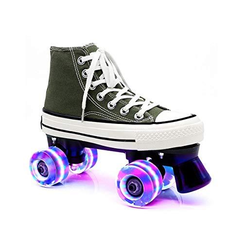 ZXSZX Zapatos para Damas Y Caballeros, Adultos Cómodos LED Rollerskates Quad Patinaje Al Aire Libre para Niñas Y Niños, Olivgrün-38