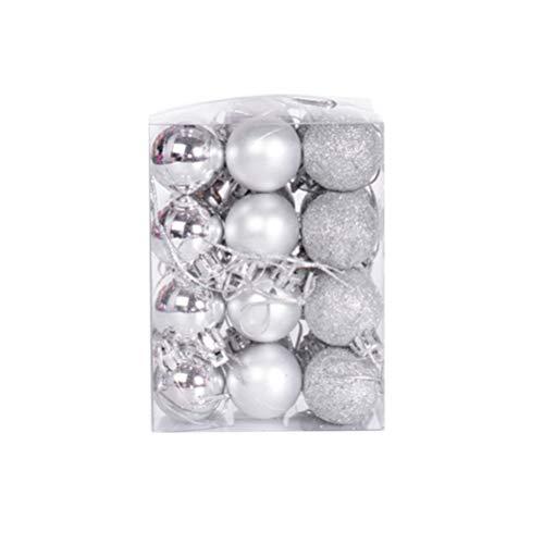 ABOOFAN 24pcs Glitter Silver Mini Christmas Balls Plastic Shatterproof Baubles Christmas Balls Decoration Xmas Tree Hanging Pendant Holiday Wedding Party Decorations