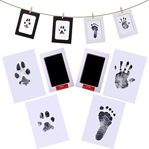 Xiangmall Kit Huella Bebe Clean Touch Almohadilla de Tinta con marco de Fotos de Papel Tarjetas de Impresión Clips de Madera Cuerda de Cáñamo Kit Huellas Familia Regalo Recuerdos (negro)