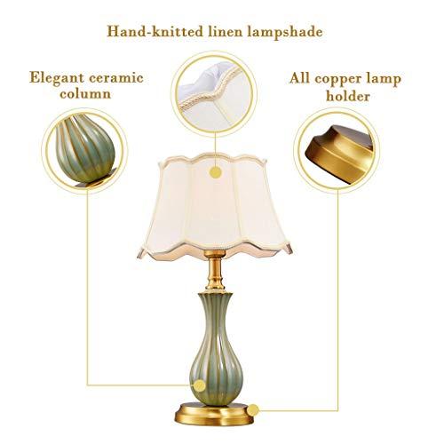 Lámparas de mesa Lámpara de sobremesa americana totalmente de cobre, sala de estar, moderna, minimalista, creativa, de estilo europeo, lámpara de noche de cerámica Lampara Mesilla/Mesilla de Noche Lám