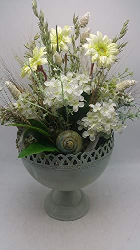 Blumengesteck Gesteck Sommergesteck Sommerdeko Gerbera Flieder weiß creme