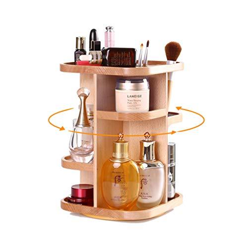 Trousses à maquillage Boîte à Bijoux en Bois 360 degrés Rotation boîte de Rangement cosmétique Coiffeuse Support de Rangement de Bureau en Bois Armoire de Stockage de Soins de la Peau