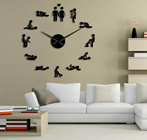 Suwfc DIY Adult Room Decorative Giant Wall Clock Sex Love Position Frameless Large Wall Clock Art