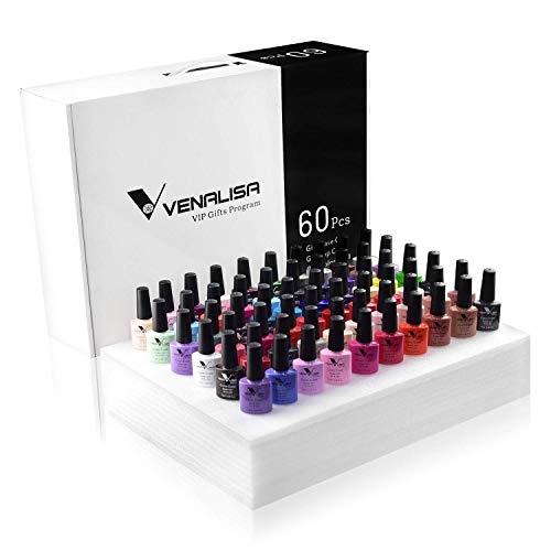 60 Colors VENALISA Gel Nail Polish Kit with Color Card Base coat and Top coat,UV LED Soak Off Gel...