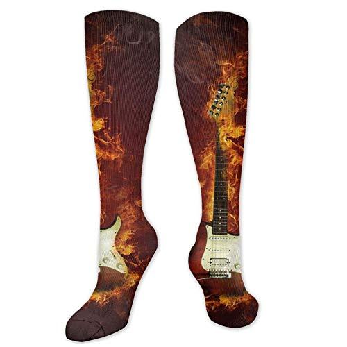 JONINOT Manga de compresión de rodilla de 60 cm, guitarra eléctrica en llamas Concepto de creatividad musical de Hardrock de fuego ardiente, medias deportivas altas