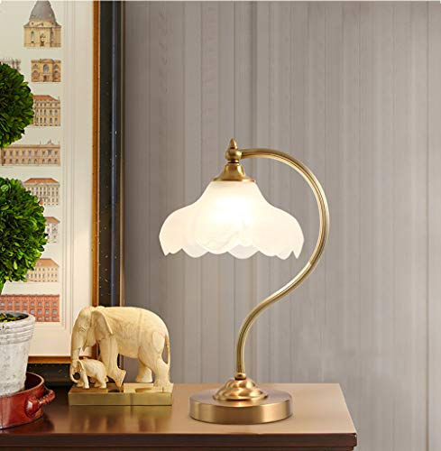 Slaapkamer bedlamp, glazen lampenkap en volledig koperen lamphuis, geschikt voor woonkamer, kantoor, stabiel en duurzaam