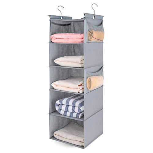 MAX Houser 5 Shelf Hanging Closet Organizer Space Saver Cloth Hanging Shelves with 4 Side Pockets Foldable Light Grey