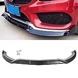GZYF Auto Parachoques Delantero Parachoques Labio Divisor Barbilla Spoiler Cubierta Trim Compatible con 2015-2018 Mercedes Benz Clase C W205 Sport DP Style, Negro Mate