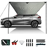 Slan Arrow Versatility Car Awning Camping Car Tail Tent Waterproof Shed 210D Silver Coated Oxford Cloth Tent for Outdoor Activities Like Camping Mountaineering Fishing for Vehicles SUV RV (Green)