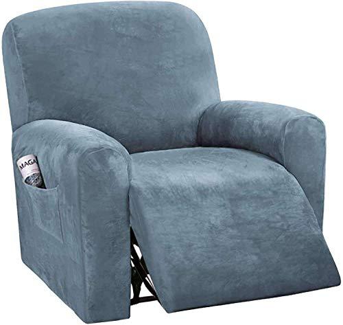 HYLDM Fundas de sofá reclinables de 4 Piezas Fundas de sofá reclinables elásticas de Terciopelo para 1 cojín Fundas de sofá Fundas Gruesas, Suaves y Lavables para Muebles con Fondo elást
