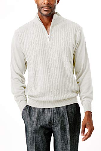 STACY ADAMS Men's Sweater, Solid Cable Knit Twist (X Large, Cream)