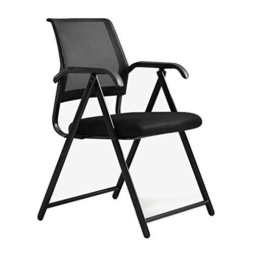 Z-Life Büro Sessel Stühle Klappstuhl Vorstand Ineinander Greifen-Stuhl for Büro-Computer-Schreibtisch-Stuhl Beweglicher Stahlrahmen Kunstleder Rückenlehne Stuhl (Color : Black)