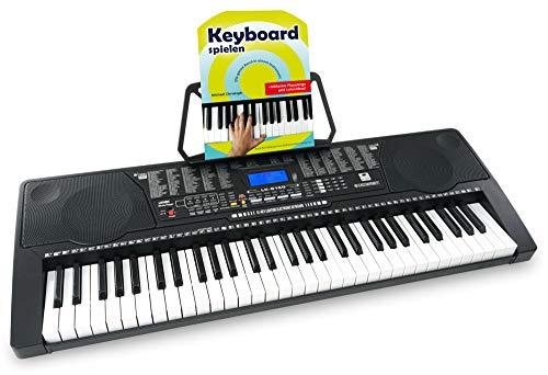 McGrey LK-6150 61 Tasten Set - Elektronisches Keyboard mit 61 Tasten - Leuchttasten und Lautsprecher - inkl. Musikschule - ideal für Schüler und Anfänger - Schwarz