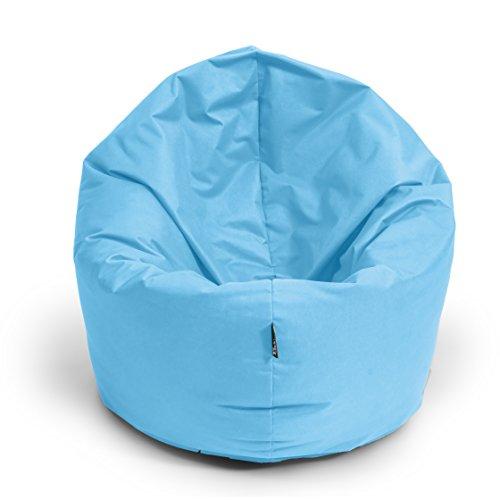 BuBiBag Sitzsack L - XXL 2in 1 Funktion Sitzkissen fertig befüllt mit EPS Styroporfüllung Bodenkissen Sessel Sofa Kissen Beanbag (125cm Durchmesser, Hellblau)
