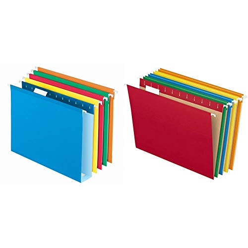 Pendaflex Extra Capacity Hanging File Folders, Letter Size, Reinforced, 2 Inch Expansion & Hanging File Folders, Letter Size, Assorted Colors, 1/5-Cut Adjustable Tabs, 25 Per Box (81663)