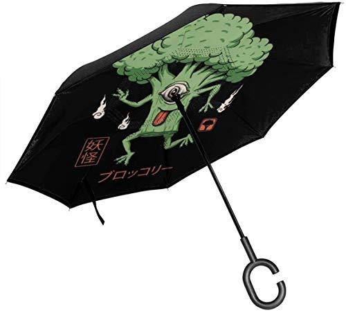 Paraguas invertido de Doble Capa de brócoli Yokai para Manos Plegables invertidas en Forma de C invertidas para automóviles - Ligero y a Prueba de Viento y Ndash;