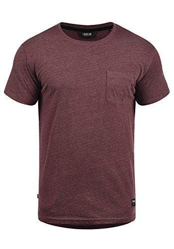 !Solid Bob Herren T-Shirt Kurzarm Shirt Mit Rundhalsausschnitt, Größe:XXL, Farbe:Wine Red Melange (8985)
