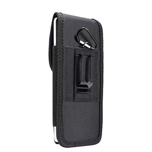 DFV mobile - Funda Cinturon en Nylon con Clip Metálico y Tarjetero para Motorola Moto G100 (2021) - Negra