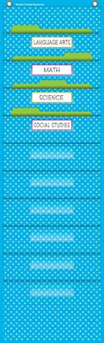 Teacher Created Resources Aqua Polka Dots 10 Pocket File Storage Pocket Chart (20738), 14 x 46-1/2 in