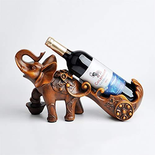 yuiopps Creative Botellero de madera con forma de elefante para colgar botellas de vino, vintage, decoración de Navidad, festivales, regalos, decoración de interiores, botellero